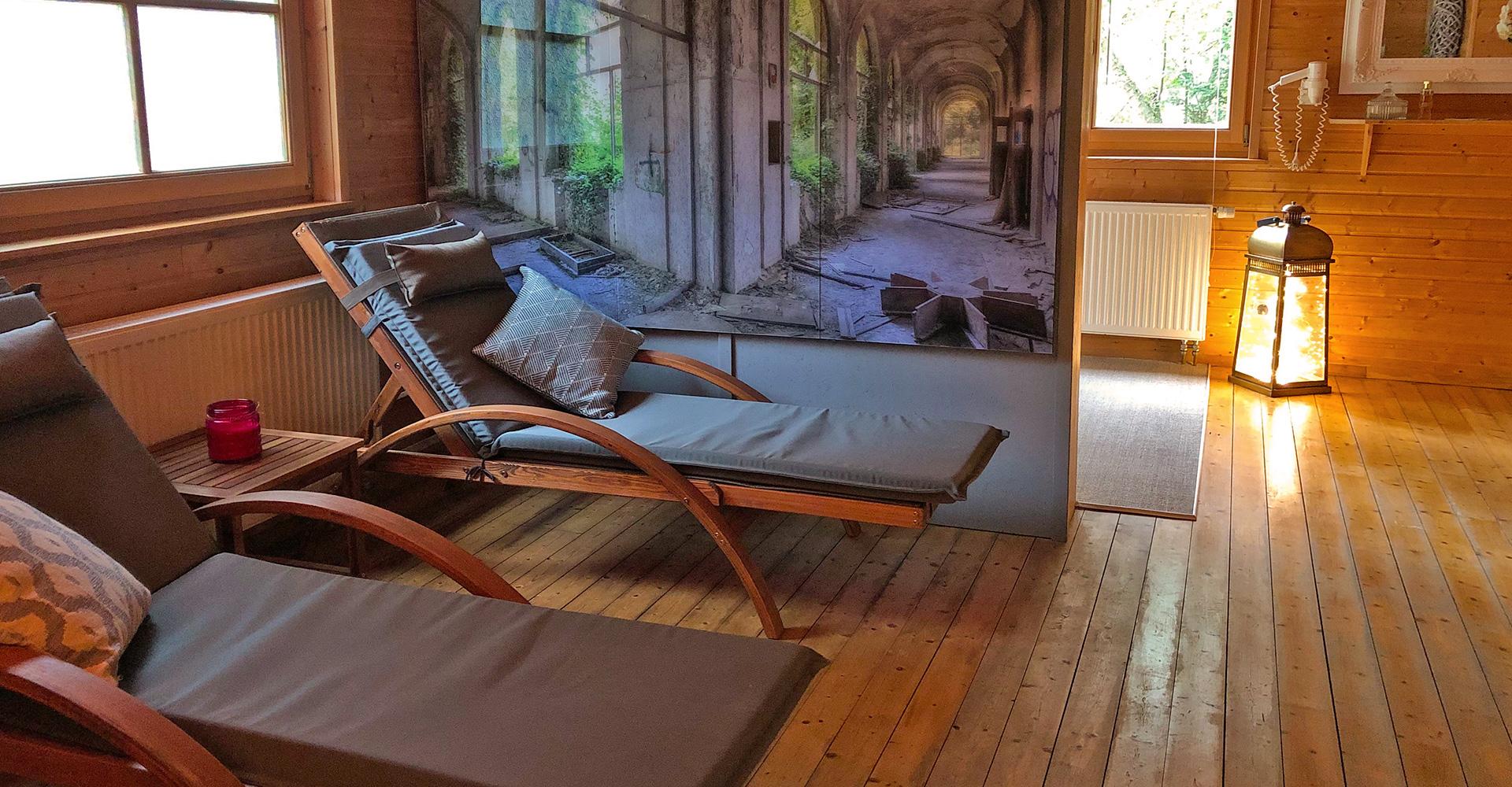 Die Sauna des Hotel Waldhaus Prieros